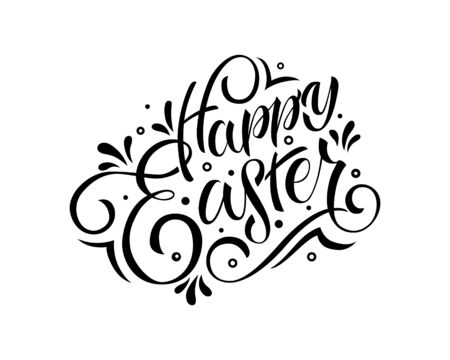 Hand drawn Happy Easter text. Easter logo poster black and white background, banner template, lettering typography Illustration