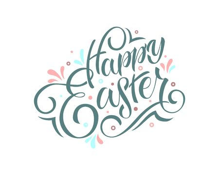 Hand drawn Happy Easter text. Easter calligraphy font logo poster background, banner template, lettering typography Illustration