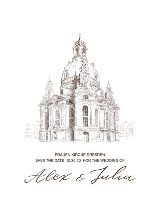 Wedding card with Frauenkirche Church in Dresden sketch. Invitation template. Vector architecture background. Hand drawn illustration and typography lettering poster, perfect for kraft paper print.