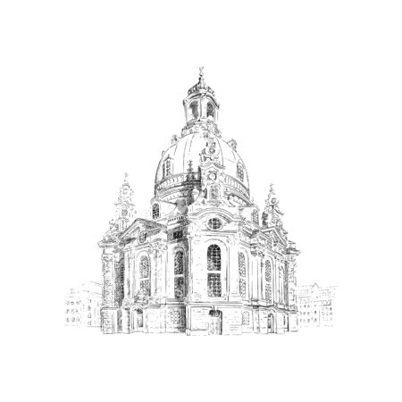 Frauenkirche, Church of our Lady in Dresden, Germany. Black and white drawing sketch. Vector illustration