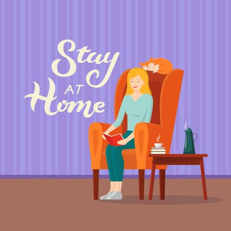 Vector illustration with Stay at home lettering text and woman reading book in chair with cat. An inscription urging people to stay at home during the epidemic. COVID-19 Illustration