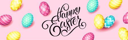 Hand sketched Happy Easter text, sale tag. Hand drawn Easter sale special offer poster, online shopping banner template, lettering typography. Motivational text with egg frame on pink background.
