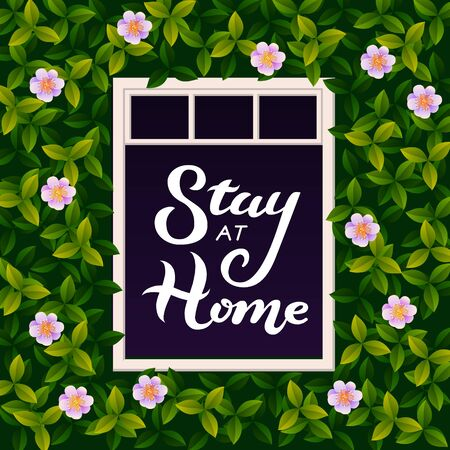 Vector illustration with Stay at home lettering text in open window. An inscription urging people to stay at home during the epidemic. COVID-19