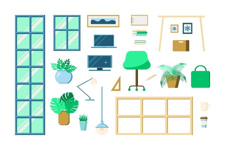 Office furniture set. Table, chair, windows, lamps, plants, notebook, monitor box books coffee in paper cup Vector illustration