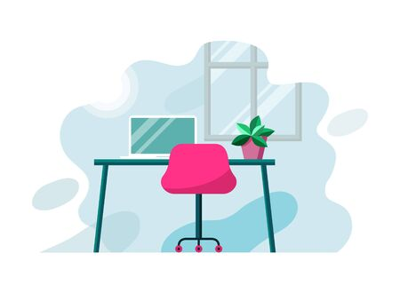 Empty room interior with table, office chair, window, plant, notebook. Vector illustration, work at home concept modern flat design, infographics.