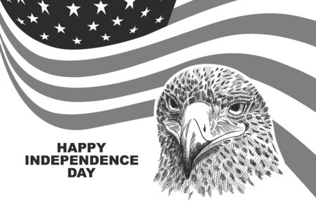 Happy Independence day USA celebration banner template with eagle sketch and american flag decor. 4th of July holiday poster template. Fourth of july gift card. Vector illustration