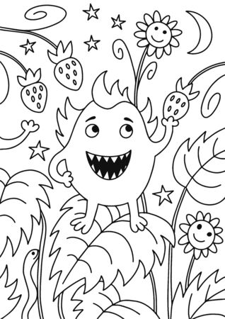 Vector illustration of black and white monster contour and bed with strawberries at night background. Coloring book hand drawn template.