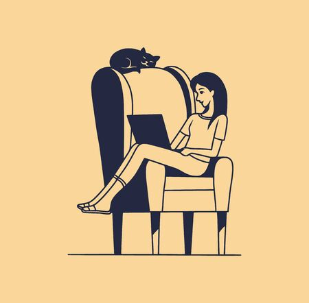 Vector illustration of a young woman sitting in a chair with a laptop, alone. The cat sleeps on the back of the chair. Home Isolation concept. Flat cartoon style