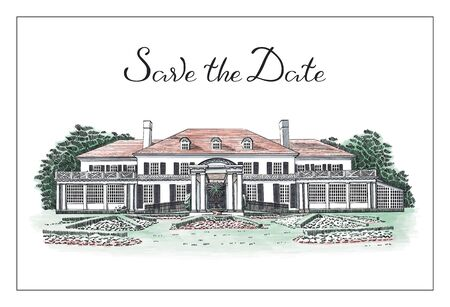 Vector illustration with Save the Date hand drawn lettering text and Georgian style mansion, wedding venue, country estate. In front of the house - beautiful formal gardens
