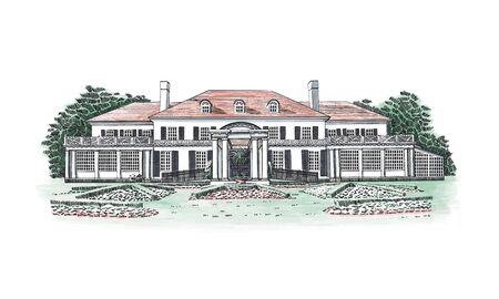 Vector illustration with Georgian style mansion, country estate. Historic Building with Hipped-roof Colonial Revival, with third-story dormers. In front of the house - beautiful formal gardens