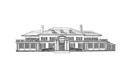 Vector illustration with Georgian style mansion, country estate. Historic Building with Hipped-roof Colonial Revival, with third-story dormers. Black and White wedding venue, architecture Illustration