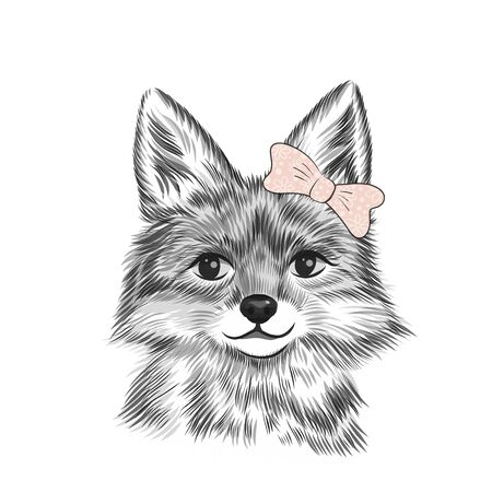 Baby girl poster with little fox with bow, sketch, hand drawn. Greeting card for baby shower, birthday party holidays, with cute animal, vector illustration