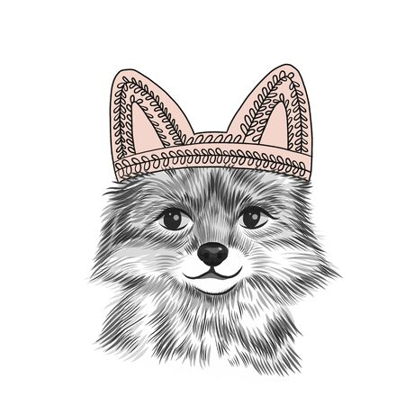 Poster with little fox in children's hat with ears, sketch, hand drawn. Cute vector illustration for baby girl shower, birthday card. Greeting card, pink, black and white Illustration
