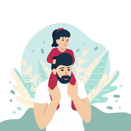 baby sitting on dads shoulders, vector illustration for Fathers Day holiday, happy family concept. Nature leaves background. Cute little girl and her father, people design