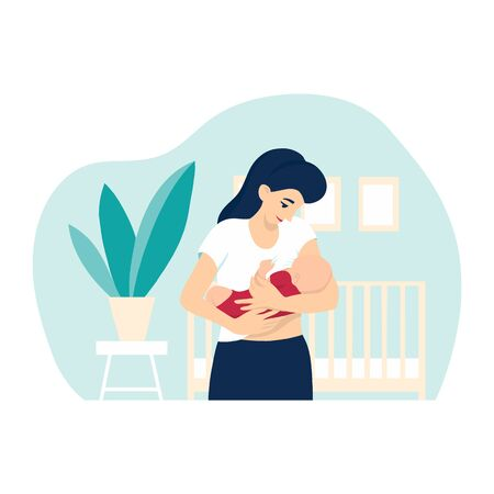 Breastfeeding vector illustration, mother feeding a baby with breast at home, with nursery background with crib, house plant and frames. Concept vector illustration in cartoon style.