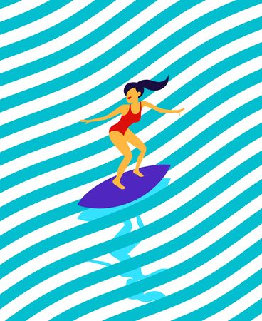 Young surf girl with surfboard riding a wave. Vector illustration, summer time design for shirt print, active water sport concept