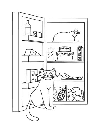 Vector illustration of black and white cat contour with food and drink fridge background. Coloring book hand drawn template