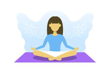 Young girl is engaged in meditation. Vector illustration, yoga sport, free your mind concept. Woman in lotus pose with angel wings behind