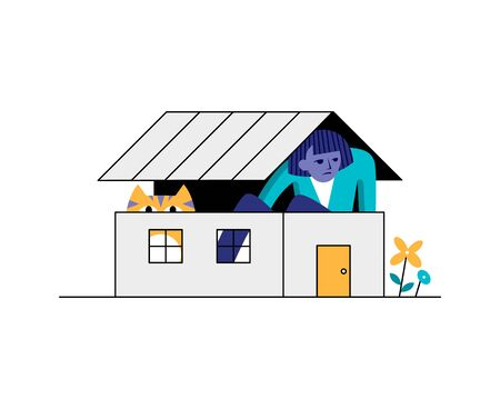 Self isolation mode. A woman sits at home with a cat. A person feels cramped and claustrophobic while locked up. Depression in isolation. Stay at home concept. Vector illustration