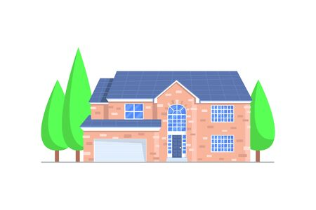 House building vector icon. Village home, cottage and villa, mansion, bungalow, townhouse, architecture and real estate industry. Exterior of building with windows, roof, door and trees, isolated