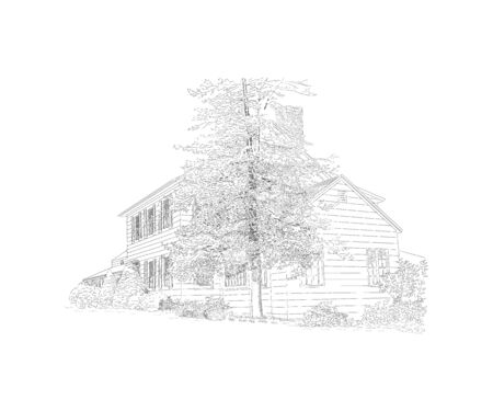 Vector illustration with style mansion, big tree in front of it, country estate. Historic building, location for your elegant countryside wedding. Black and white sketch, wedding venue, architecture.