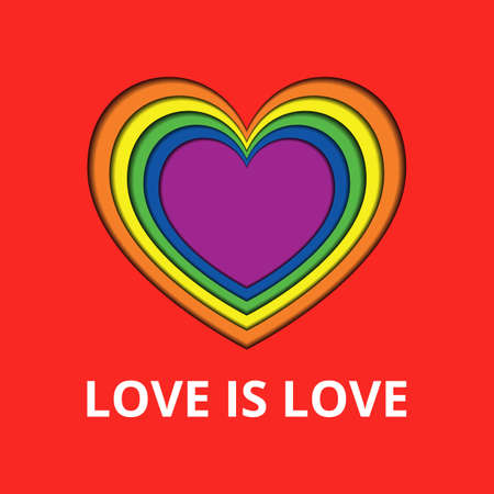 Valentines Day poster with colorful heart and Love is Love text. Vector illustration for Valentines Day, wedding greeting cards, invitations. Rainbow colored heart, LGBTQ symbol