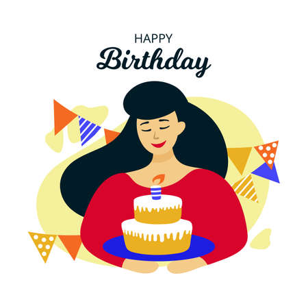 Illustration of beautiful happy girl with holiday cake in hands. Vector Happy Birthday greeting card, typography poster Illustration