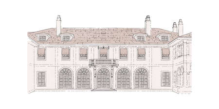 Colorful sketch, wedding venue, architecture. Vector illustration