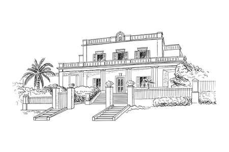 Vector illustration with style mansion, villa, country estate. Wedding venue illustration Vecteurs