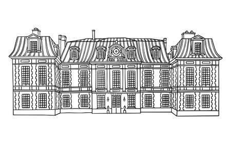 Vector illustration with style mansion. Historic Building with Mansard-style roof