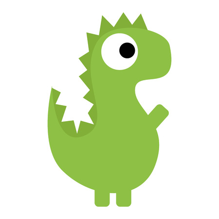 Vector Cute Cartoon Green Dinosaur Isolated Vector