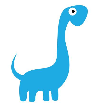 Vector Cute Cartoon Blue Dinosaur Isolated Vector