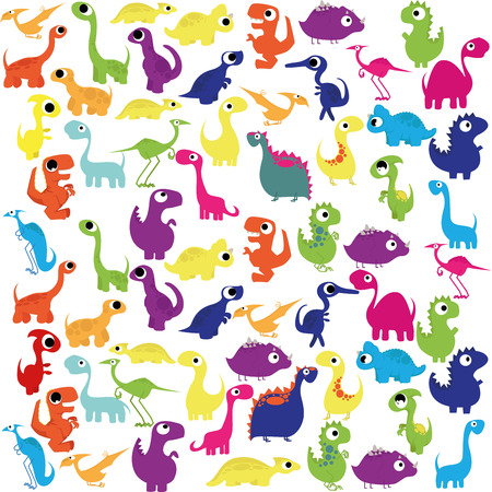 Vector Cartoon Cute And Colorful Group Of Dinosaurs Vector