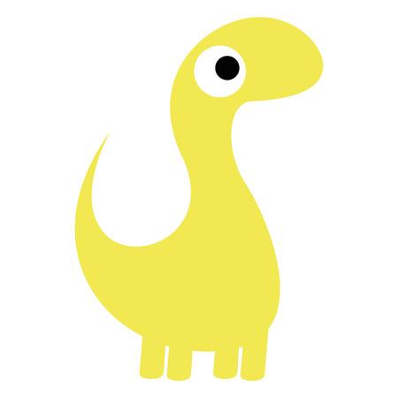 Vector Cute Cartoon Yellow Dinosaur Isolated Vector