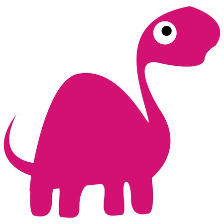 Vector Cute Cartoon Pink Dinosaur Isolated Vector