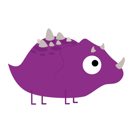 Vector Cute Cartoon Purple Dinosaur Isolated Vector