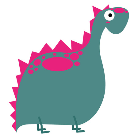 Vector Cute Cartoon Pink Dinosaur Isolated Vector