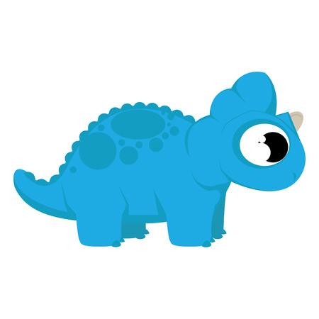Vector Cute Cartoon Blue Dinosaur Isolated Vector