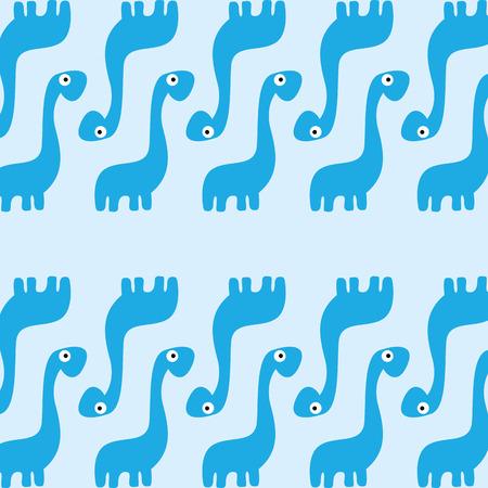 A Vector Cute Cartoon Blue Dinosaurs Background Vector