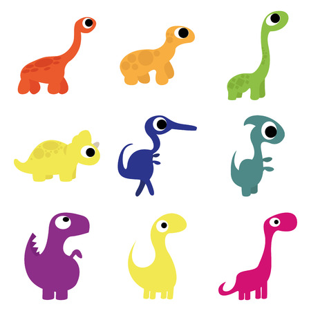 Set Of Different Cute Cartoon Dinosaurs Isolated Illustration
