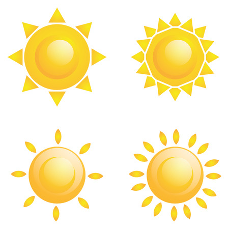 Set Of Different Abstract Suns Isolated Vector