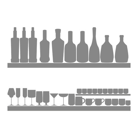 Different Icons Of Silhouettes Of Bootles, Glasses And Cups Isolated  Vector