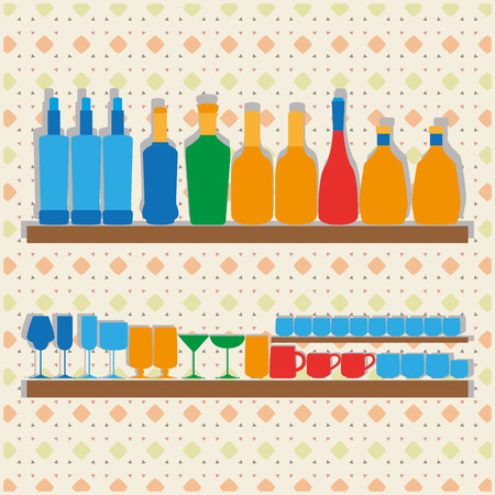 Different Icons Of Silhouettes Of Bootles, Glasses And Cups  Vector