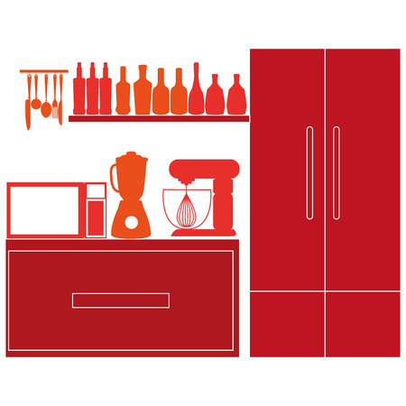 Vector Stylish Colorful Kitchen Elements On Background Vector