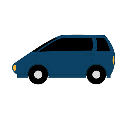 small car: Cartoon Simple Car On White Background