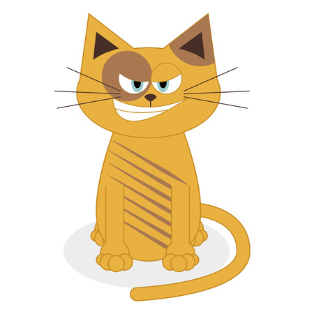 Vector Cute Cartoon Cat Isolated On White Background  Vector