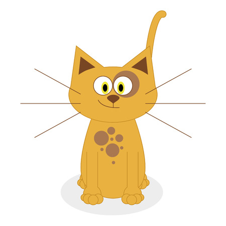 Vector Cute Cartoon Cat Isolated On White Background