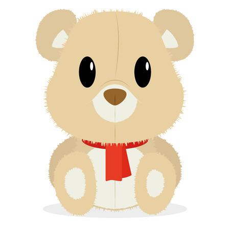 Vector Cartoon Cute Bear Isolated On White Background