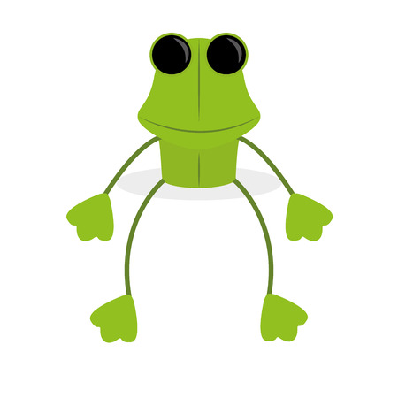 Vector Cartoon Green Frog Isolated On White Background  Vector