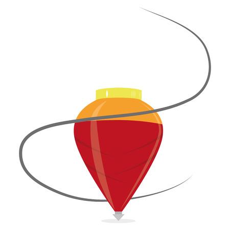 Spin Vector Cartoon rosso isolato su sfondo bianco